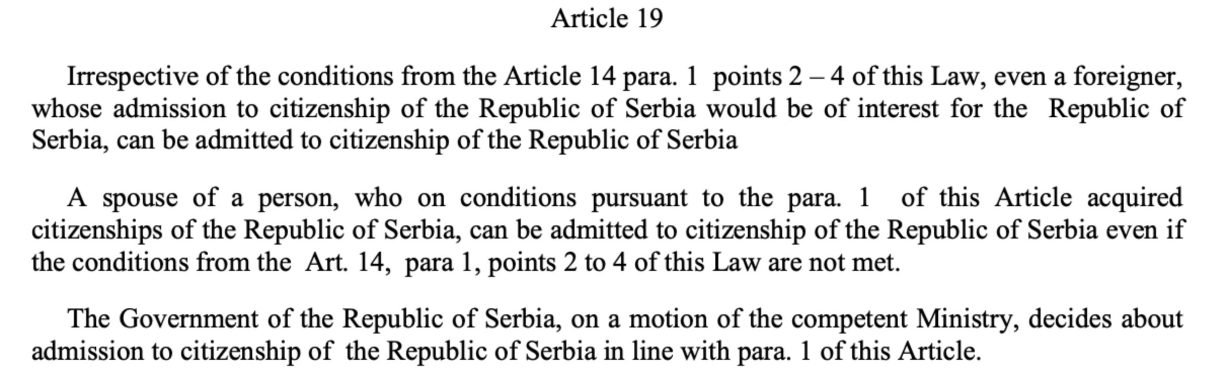 Article 19 of the Serbian constitution